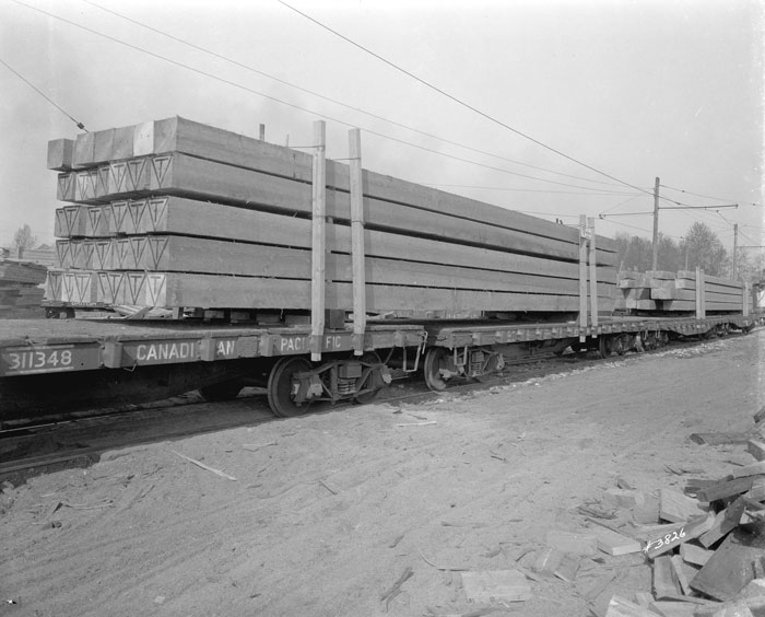 Lumber on a train - a black and white photo