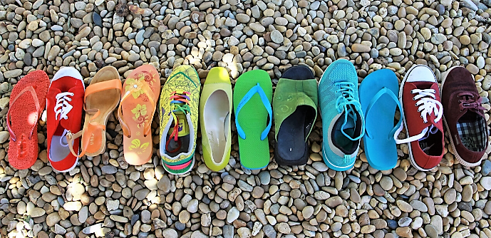 Diverse colour shoes representing diversity at Multifest