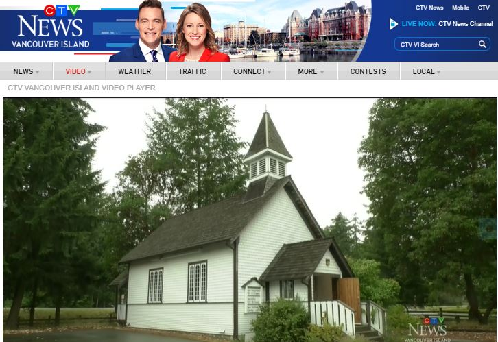 Screenshot of CTV news coverage of fundraiser picturing our church